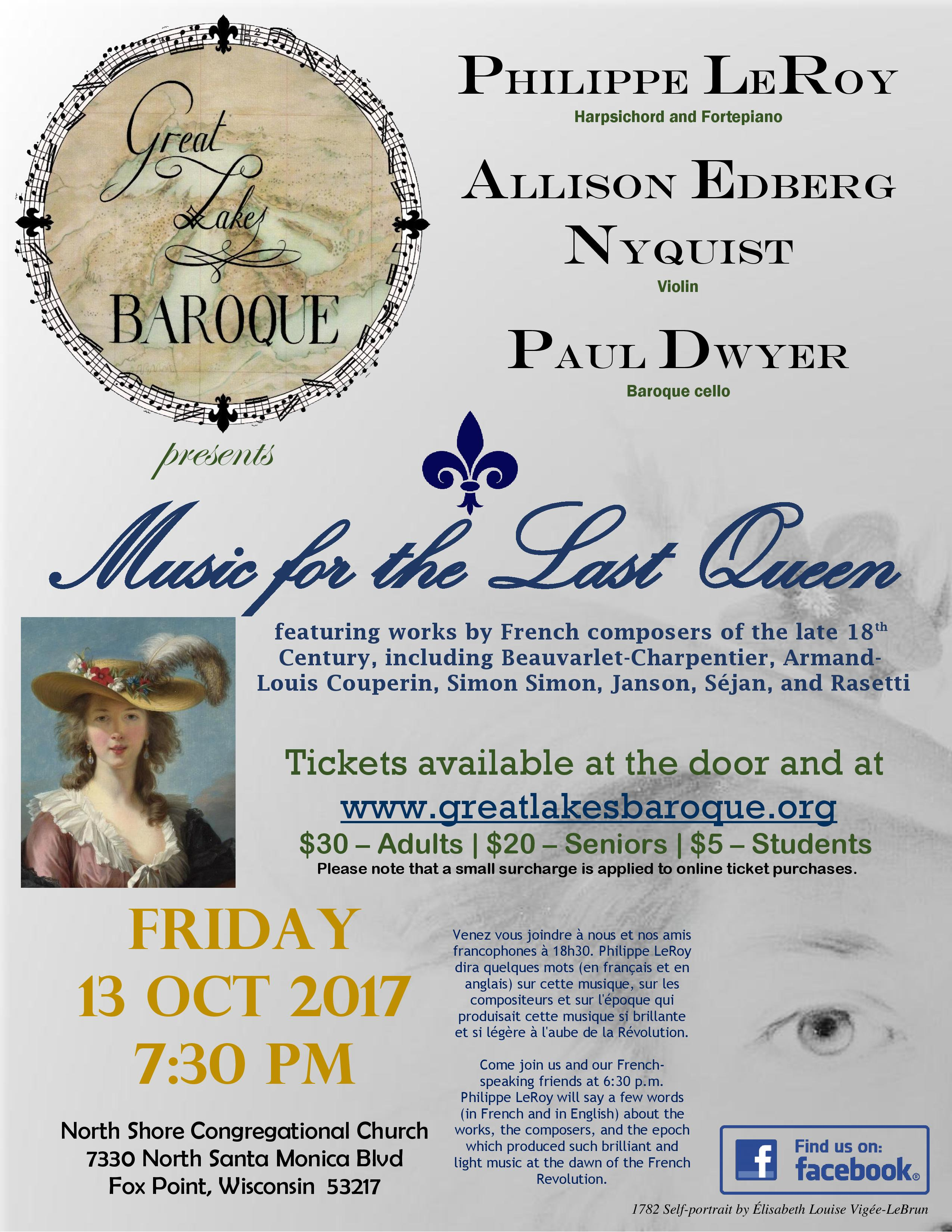 Great Lakes Baroque presents MUSIC FOR THE LAST QUEEN - Friday, 13 October 2017