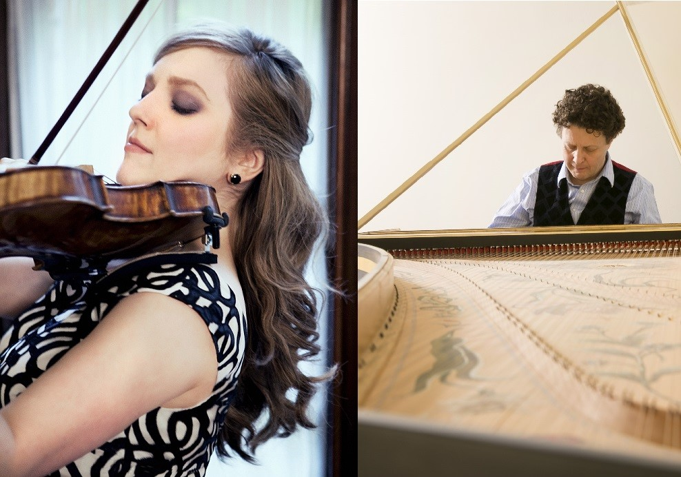 Internationally-acclaimed violinist RACHEL BARTON PINE and harpsichordist and GLB founder JORY VINIKOUR, joining forces to play music by J. S. Bach on 17 June 2016 [Photos © by Lisa-Marie Mazzucco (Rachel Barton Pine) and Nuccio di Nuzzo (Jory Vinikour); used with permission]